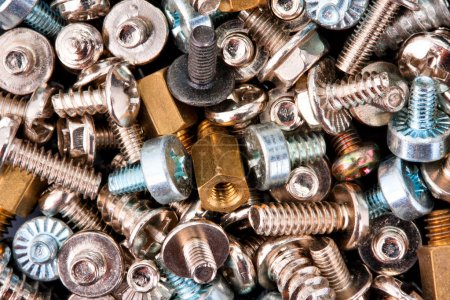 Photo for Close-up of various screws. Use for background - Royalty Free Image