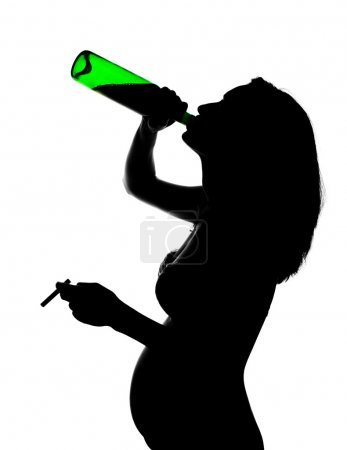 Silhouette of careless pregnant