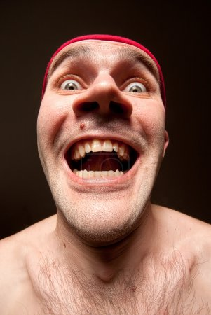 Photo for Close-up portrait of insane funny surprised man - Royalty Free Image
