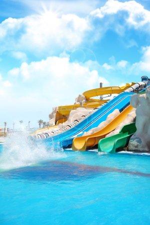 Colorful aquapark constructions