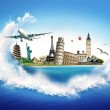 Traveltheme - the famous world monuments framed wi...