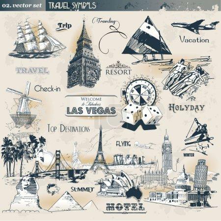 Photo pour Ensemble de symboles de voyage vintage - image libre de droit