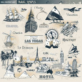 Set of vintage travel symbols