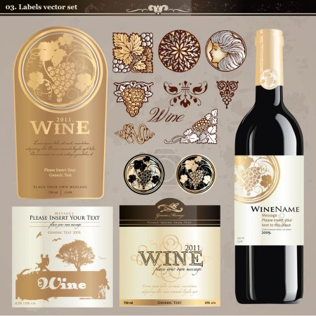 Photo for Set of wine labels and elements - Royalty Free Image
