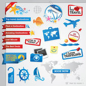 Collection of vector travel icons and tags