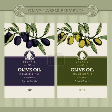 Ilustración de Conjunto de plantillas de sello de aceite de oliva - Imagen libre de derechos