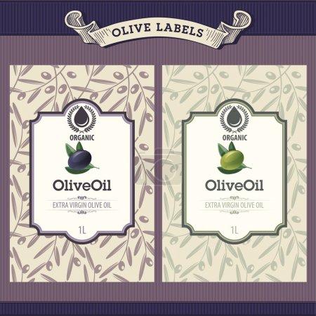 Illustration pour Ensemble de modèles d'étiquette rétro d'huile d'olive - image libre de droit
