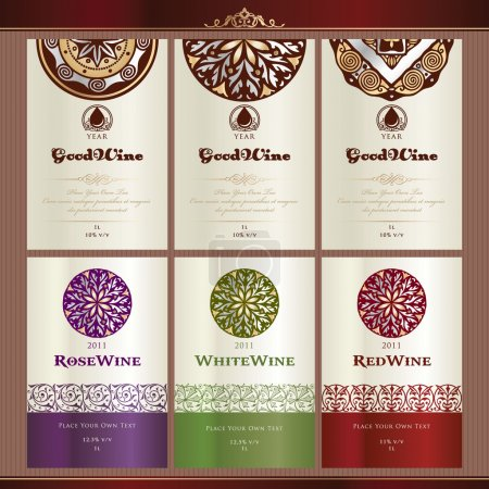 Collection of wine labels