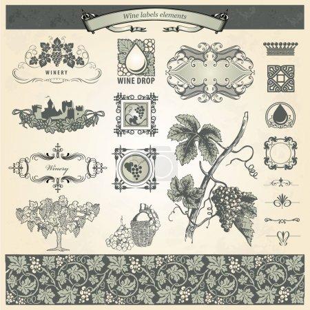 Ilustración de Colección de elementos vintage para etiquetas de vino - Imagen libre de derechos