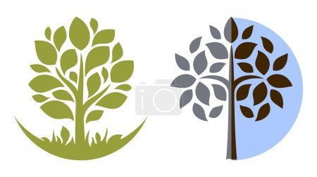 Illustration for Vector tree emblem, isolated on white - Royalty Free Image