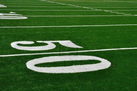 50 Yard Line on American Football Field...