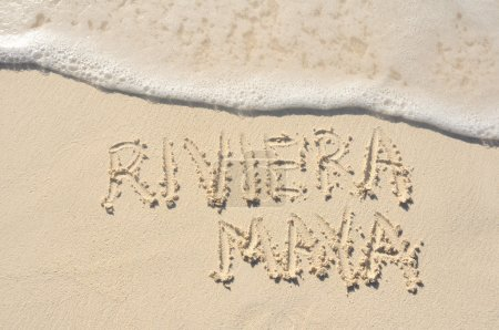 Riviera Maya Written in Sand on Beach
