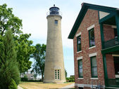 Old Tan Brick Lighthouse and Lightkeeper's House