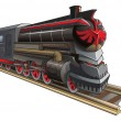 Old steam locomotive with red demon eyes instead o...