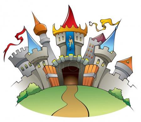 Photo pour Château lumineux et joyeux, forteresse avec des murs, des tours, et l'illustration de drapeaux - image libre de droit