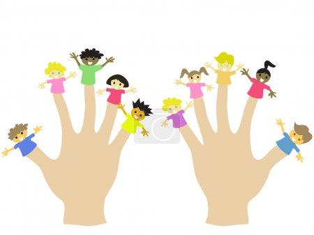Photo for Hand wearing 10 finger children puppets - Royalty Free Image