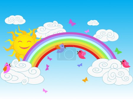 Illustration for The background of colorful sunny rainbow in clear sky - Royalty Free Image