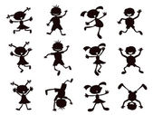 Black cartoon kids silhouette