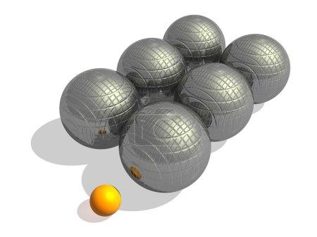 Foto de Seis bolas de petanca metálico grande y una naranja pequeña jack en un fondo blanco - Imagen libre de derechos