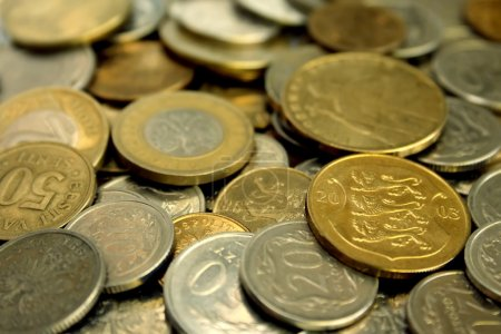 A pile of coins close-up