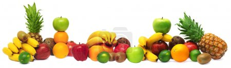 Photo for Group of fresh fruits isolated on white background - Royalty Free Image