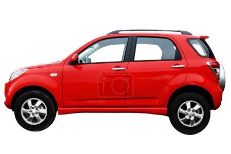 Side view af a red modern car