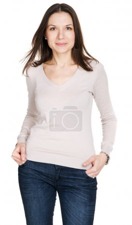 Lovely young woman in casual style clothing