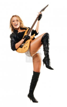 Sexy girl playing electric guitar