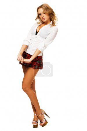 Lovely sexy girl in checkered short skirt