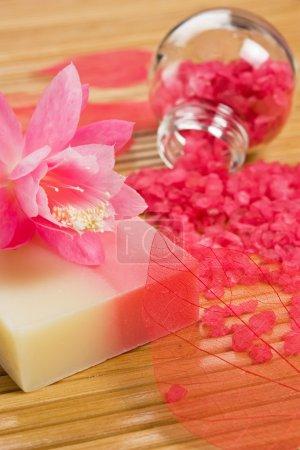 Photo pour Savon naturel et sel de bain aromatiques - accessoires de bain bien-être - image libre de droit