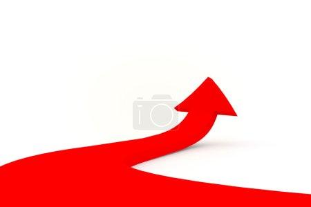 Photo pour Illustration d'une flèche rouge dirigée vers le haut comme succès - image libre de droit
