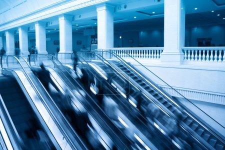 Escalators with passenger motion blur