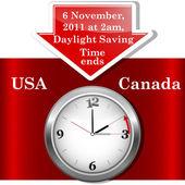 Daylight saving time ends sunday november 6 2011 at 2 am Icon clock Vector 10EPS