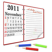 Daylight saving time ends sunday november 6 2011 at 2 am Notebook with calendar Vector