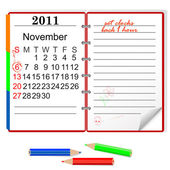 Daylight saving time ends sunday november 6 2011 at 2 am Notebook with calendar Vector