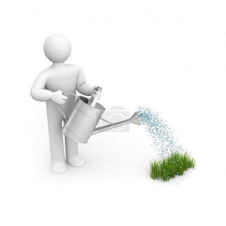 Person pouring grass