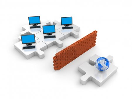 Firewall. Information security concept