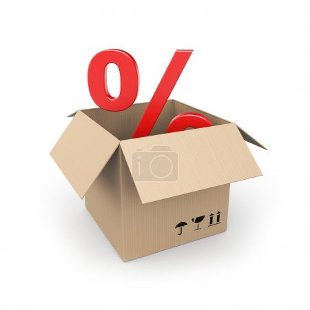Cardboard box with percent sign
