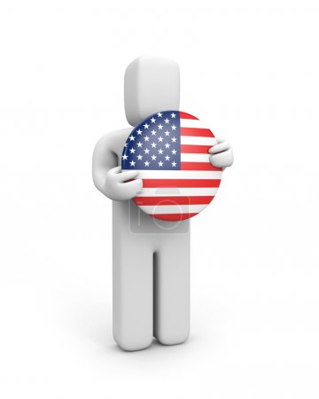 Person with USA flag (badge)