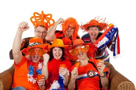 Group of Dutch soccer fans