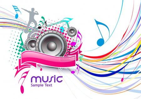 Illustration pour Résumé fond de l'événement musical coloré avec illustration couleur pleine vague ligne . - image libre de droit