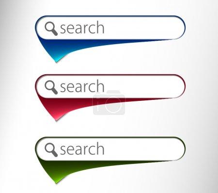 Illustration pour 3d icône de recherche brillante, trois multi couleur isolée sur fond blanc - image libre de droit