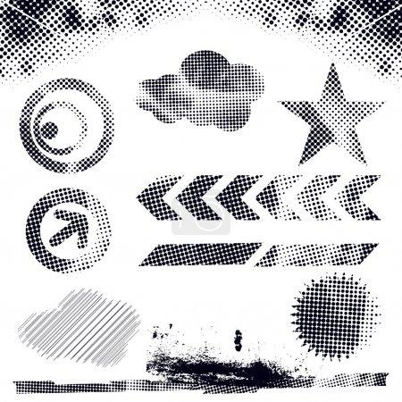 Illustration pour Illustration vectorielle moderne abstraite, éléments de points grunge aux formes rétro, plaque d'encre . - image libre de droit
