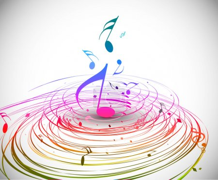 Illustration for Music colorful music note theme - rainbow swirl wave line background. - Royalty Free Image