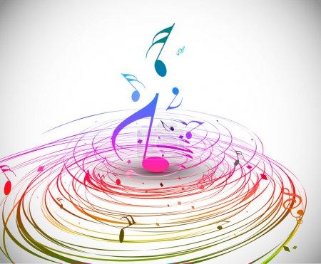 Illustration pour Musique coloré thème note de musique - arc-en-ciel tourbillon vague ligne fond . - image libre de droit