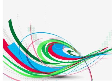 Illustration pour Abstrait fond de ligne d'onde colorée, illustration vectorielle - image libre de droit