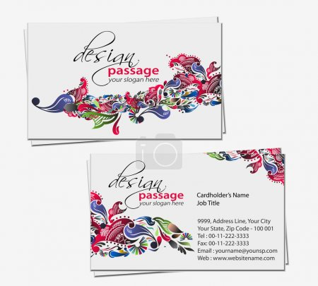 Illustration pour Carte de visite floral vector set, éléments de conception. - image libre de droit