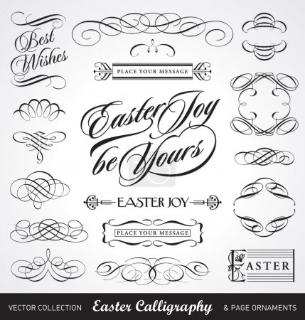 Illustration for Easter calligraphy set, useful decoration elements, scalable and editable vector illustration - Royalty Free Image