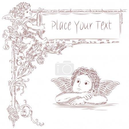 Illustration pour Anges dans le style du baroque - image libre de droit