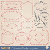 Vector set: calligraphic elements and frame for design and page decoration